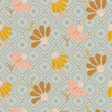 Flower pattern in pastel colors on geometric line style grid background. Seamless floral print texture. Vetores