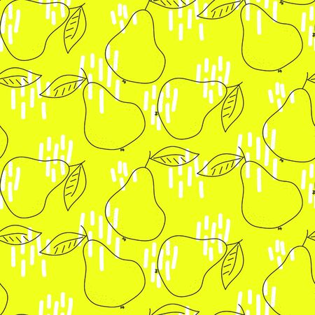 Outline pears bright yellow seamless vector pattern design texture. Neon colors fruit repeat fashion texture for print.