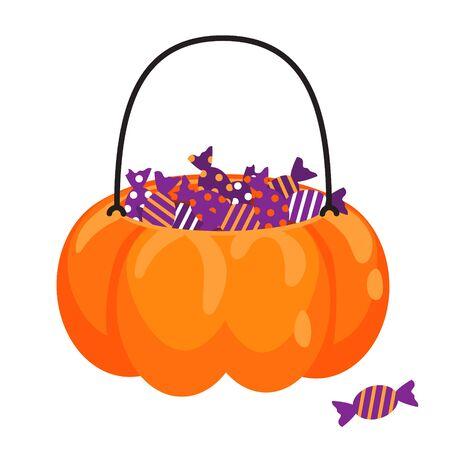 Halloween-Kürbiskorb voller Süßigkeiten-Vektor-Cartoon. Behandeln Sie Glas für Kinder mit Süßigkeiten. Vektorgrafik