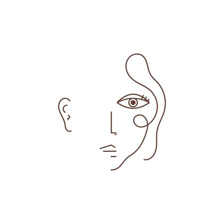 Woman face one line drawing portrait minimalistic style. Hand drawn line style vector art.
