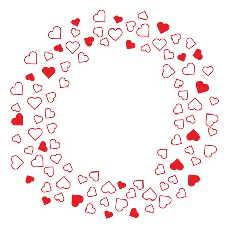 Simple hearts arranged in a wreath circle vector card template. Valentine greeting card concept design for print and banners. 矢量图像
