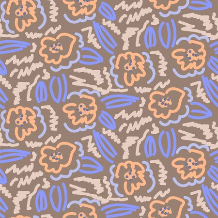 Vector floral pattern in simple scribble style with flowers and scratches. Flower repeat blue brown background. 矢量图像