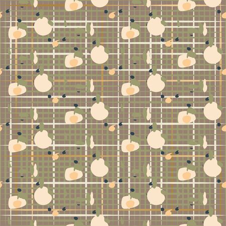 Seamless checkered net pattern hand drawn dot scratch shapes texture vector. Earthy brown and taupe colors abstract background. 矢量图像
