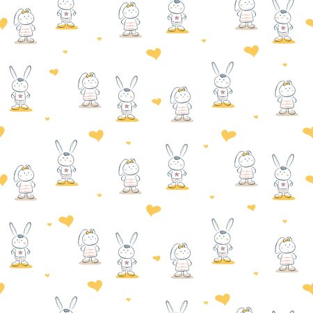 Cute bunny couple romantic vector seamless pattern. Cheerful drawn rabbits cartoon illustration texture for textile print.