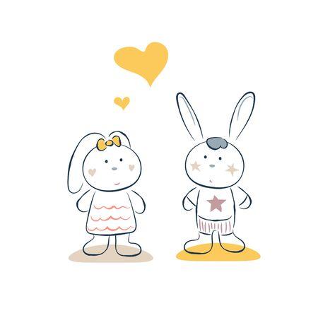 Cute bunny couple romantic date vector illustration card template. Cheerful drawn rabbits cartoon illustration.