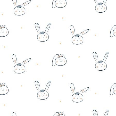 Cute baby bunny white vector seamless pattern. Cheerful happy drawn rabbit heads cartoon illustration texture for fabric print. 矢量图像