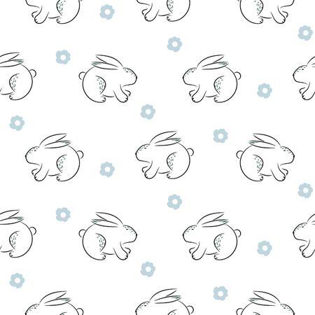 Rabbit hand drawn cute vector seamless pattern. Kid fabric print. Cheerful drawn bunnies and flowers cartoon illustration texture for textile print.
