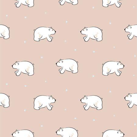 Cute polar bear hand drawn vector seamless pattern. Kid fabric print. Cheerful drawn animals and hearts cartoon illustration texture for textile print.