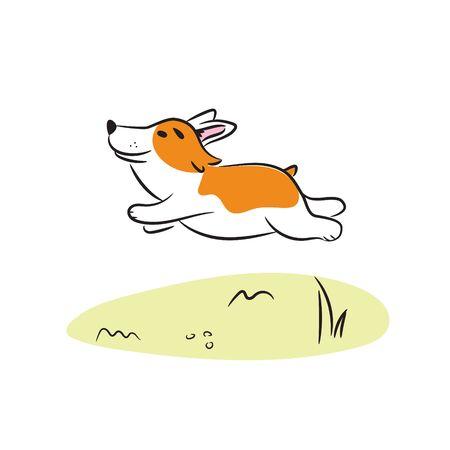 Running corgi dog vector illustration. Happy puppy cartoon illustration. 矢量图像