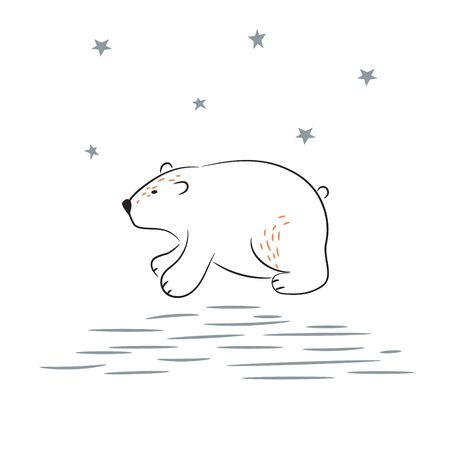 Sketch of cute polar bear vector Illustration. Hand drawn simple north pole bear. 矢量图像