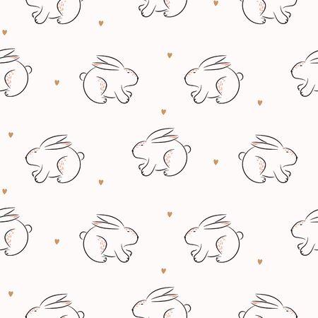 Rabbit cute hand drawn vector seamless pattern. Kid fabric print. Cheerful drawn bunnies and hearts cartoon illustration texture for textile print. 矢量图像