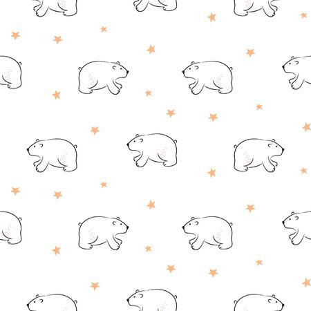 Bear cute hand drawn vector seamless pattern. Kid fabric print. Cheerful drawn animals and hearts cartoon illustration texture for textile print.