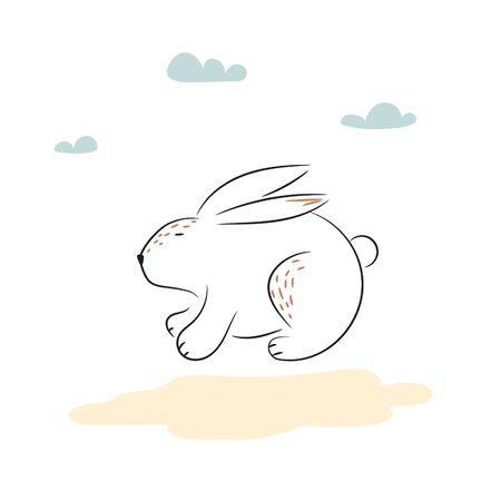 Sketch of cute sitting rabbit vector Illustration. Hand drawn simple bunny. 矢量图像