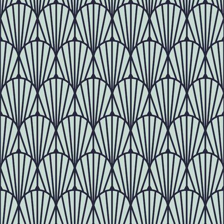 Art deco vintage geometric seamless vector pattern. Blue artdeco 20s style geometry repeat texture. 矢量图像