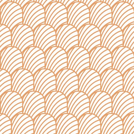 Art deco vintage shell geometric seamless vector pattern. Blush neutral artdeco 20s style geometry repeat texture. 矢量图像