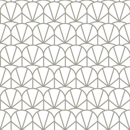 Vintage geometric seamless vector pattern with arch scallops. Gray artdeco 20s style retro geometry repeat texture. 矢量图像