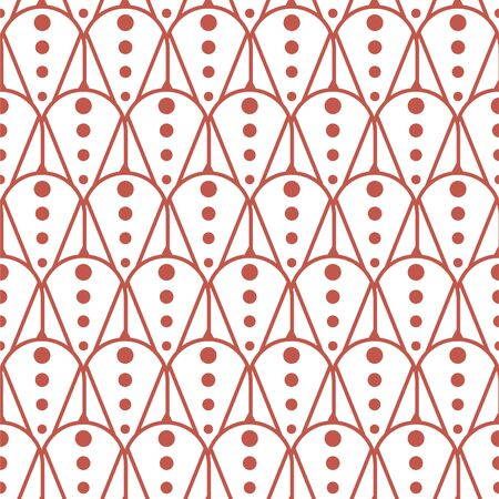 Retro style geometric seamless vector pattern. Geometry repeat texture red lines on white background.
