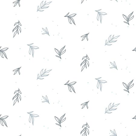 Seamless foliage pattern with tiny leaves hand drawn style. Blue and white cute leaf decor for print.