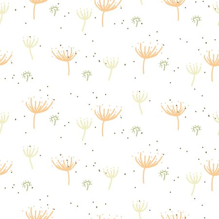 Seamless plant pattern with tiny dandelions leaves hand drawn style. Pastels white cute leaf decor for print.