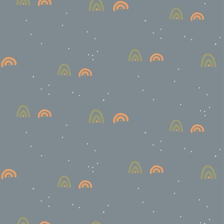 Seamless pattern with small line shapes. Blue color modern minimal texture. Terrain cartoon texture backdrop. 矢量图像