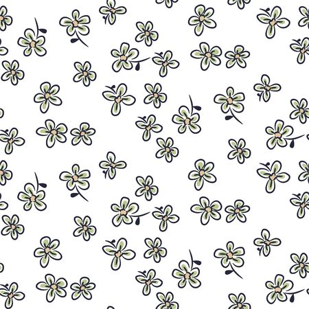 Seamless floral pattern with tiny leaves hand drawn style white and green colors. Cute small flowers in hand drawn style.