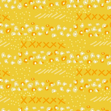 Abstract seamless pattern with different shapes and textures. Yellow eclectic mixed vector background. Chaotic texture with leopard stains and geometrical elements in hand drawn style. 矢量图像