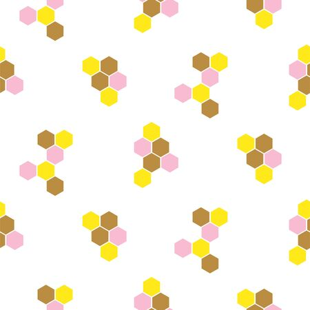 Abstract honeycomb hexagon vector background with blank space. Seamless print pattern white and yellow.