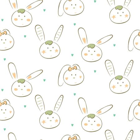 Seamless pattern with cute white doodle bunnies. Cheerful drawn rabbits cartoon illustration texture for textile print.