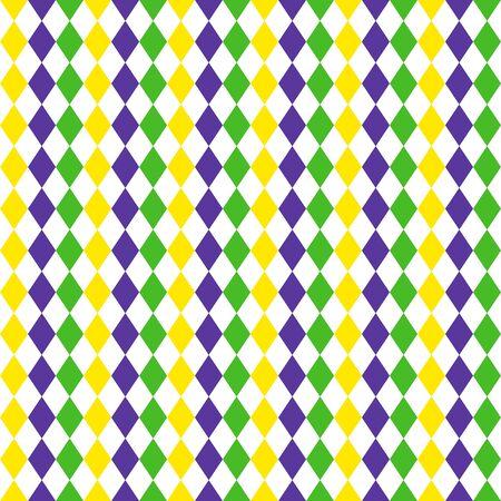 Mardi Gras harlequin diamond geometric seamless pattern. Green, purple and yellow rhombuses background.