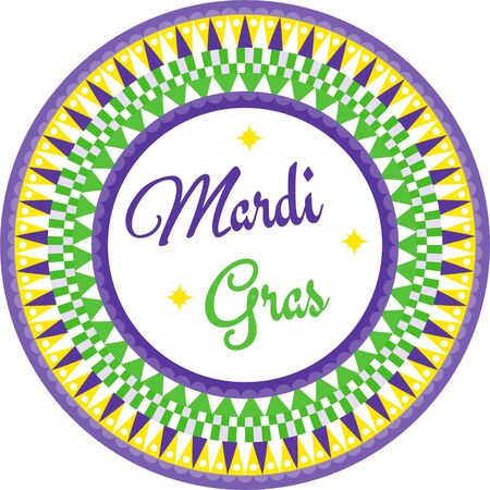 Mardi Gras circle border vector with geometric print and text green, purple and yellow.