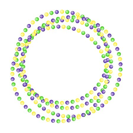 Mardi Gras beads circle jewelry border strings isolated on white background. Vector illustration. Bead garland green, purple and yellow.