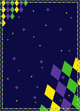 Mardi Gras background for banner with beads and rhombuses print. Vector template with copy space. 矢量图像
