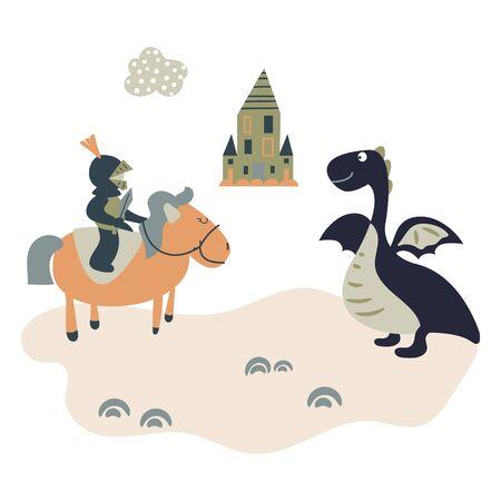 Cartoon knight on a horsem meets a dragon. Kids castle theme illustration. Stock Illustratie