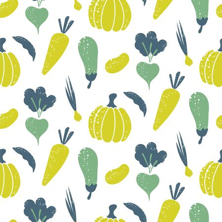 Green raw vegetables rough print style seamless pattern. Vegan healthy clean eating, dieting concept. Illustration