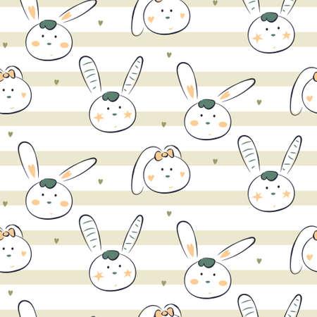 Baby bunny white vector animal striped cute seamless pattern. Cheerful fun drawn rabbit heads cartoon illustration texture for fabric print.