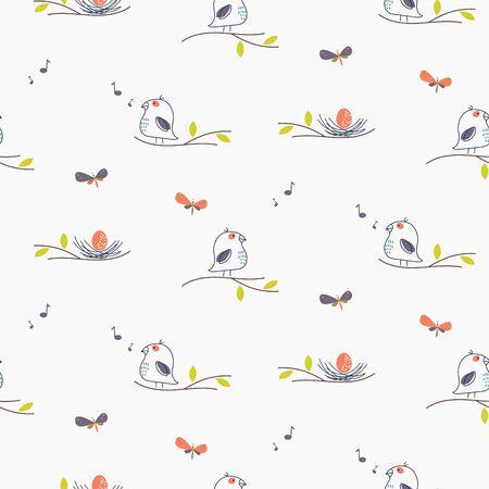 Cute spring bird singing to nest vector seamless pattern illustration. Bird on a branch background.