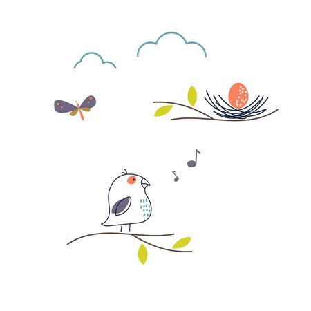 Cute spring bird singing to nest vector illustration. Nature cartoon landscape objects. Bird on a branch.