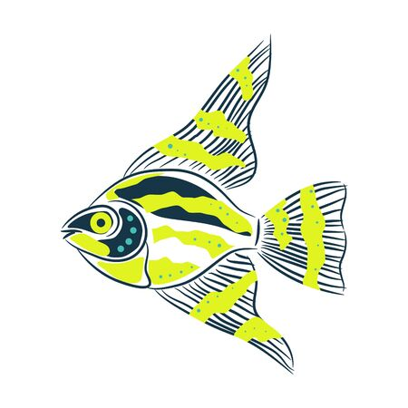 Decorative doodle style fish green and blue colors vector illustration on white. Underwater aquarium exotic animal clipart vector. 矢量图像