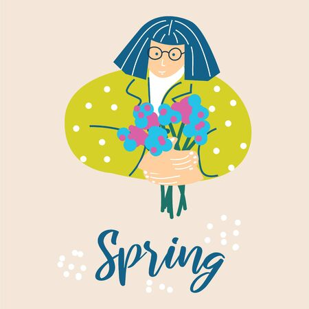 Woman with a bouquet of flowers spring cartoon illustration vector. Cute lady holding flowers bright greeting card design.