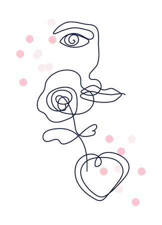 Woman face one line drawing with flower and heart shape. Portrait minimalistic style vector illustration.