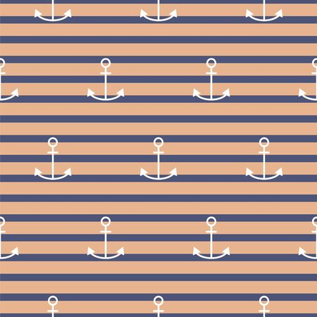 Vector seamless retro nautical pattern with anchors. Striped background vector. 矢量图像