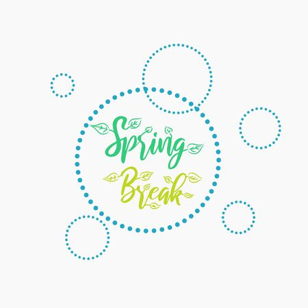 Spring Break vacation vector stamp. Lettering with foliage decor. 矢量图像