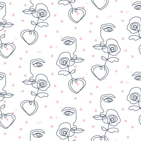 Girl face silhouette with flower and dots seamless vector pattern. Feminine white outline wrap texture design. 矢量图像