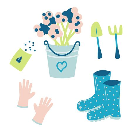 Set of hand drawn gardening tools - flowers in a bucket, gloves, rubber boots and seeds. Vector spring illustration.