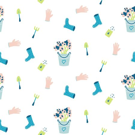 Seamless pattern with hand drawn gardening tools - flowers in a bucket, gloves, rubber boots and seeds. Vector spring illustration.
