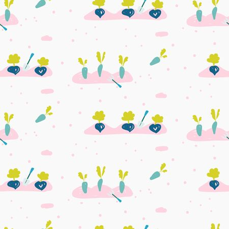 Garden bed seamless pattern with hand drawn gardening tools and vegetables seeds. Vector spring illustration with beetroot and carrot planted.