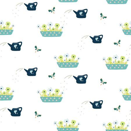 Seamless pattern with hand drawn gardening tools - flowers in a pot and watering can. Vector spring illustration background.