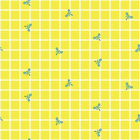 Little butterflies on a checkered yellow background. Simple seamless vector pattern.