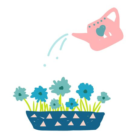 Watering flowers in a pot from a can cartoon hand drawn illustration vector. 矢量图像