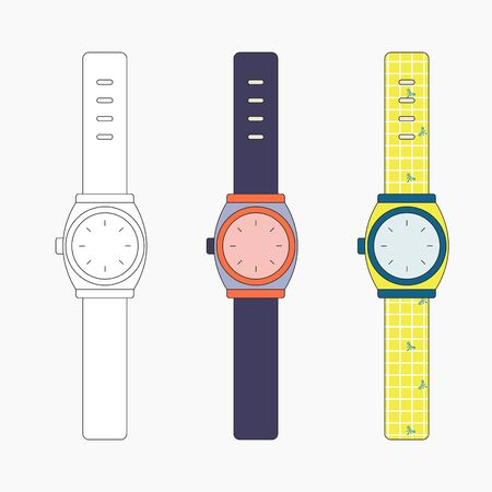 Wrist watches icon collection vector set. Bracelet watches design template outline style..